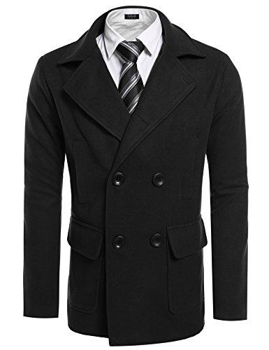 COOFANDY Herren Trenchcoat Winter lange Jacke Double Breasted Mantel, schwarz, Size XXL (Breasted Jacke Double Mantel)