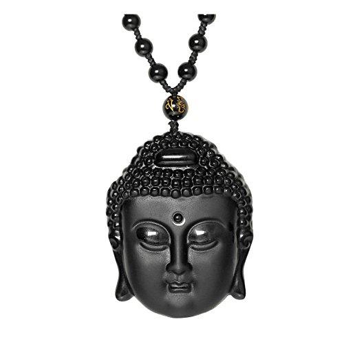 JOVIVI Buddha Anhänger aus Natürliche Obsidian Gebetskette Buddhistischen Tibetische Kette Mala Amulet Talisman Halskette?Buddha Kopf#1