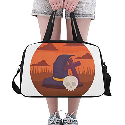 Yushg Hexe Hut Design Halloween benutzerdefinierte große Yoga Gym Totes Fitness Handtaschen Reise Seesäcke mit Schultergurt Schuhbeutel für die Übung Sport Gepäck für Mädchen Mens Womens (Benutzerdefinierte Mädchen Hexe Kostüme)