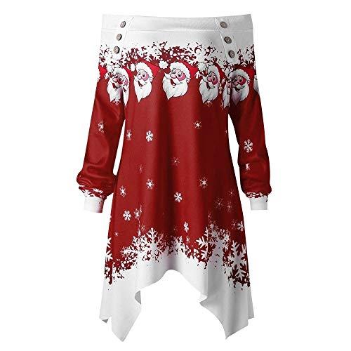 IZHH Damen Tops Weihnachten Damen Zipper Dots Print Tops Kapuzenpullover Pullover Bluse T-Shirt Damen Weihnachten Print Lässige Longsleeve Sweat-Shirts Tunika Blusen T-Shirts Tops(Wein,X-Large)