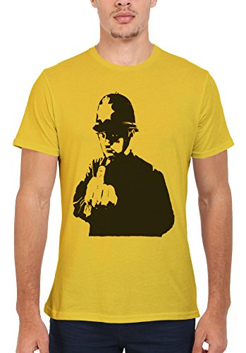 Banksy Policeman Copper Middle Finger Cool Men Women Damen Herren Unisex Top T Shirt Licht Gelb
