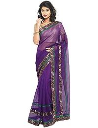 Sarvagny Clothings Women's Net Saree With Blouse Piece (Ready Wine_Purple)