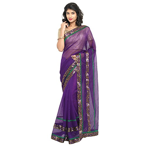 sarvagny clothings Women\'s Net Saree With Blouse Piece (Ready Wine_Purple)