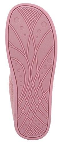 SlumberzzZ pantofole da donna in pelle scamosciata sintetica tram Line Pink