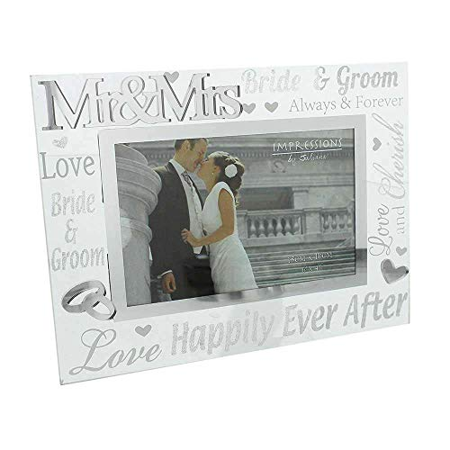Juliana 3D words 'Mr' & 'Mrs' Glass 6 x 4 Wedding Day Photo Frame - happily ever after, bride & groom, love by Juliana