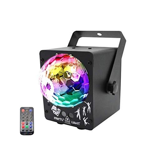 ACZZ LED-Disco-Lichter Party-Lichter LED-Projektor LED-Bühnenlicht Disco-Kugel mit Musik-Blitzlicht per Fernbedienung Ideal für Dancing Club Bar Pub Lighting -607,Schwarz
