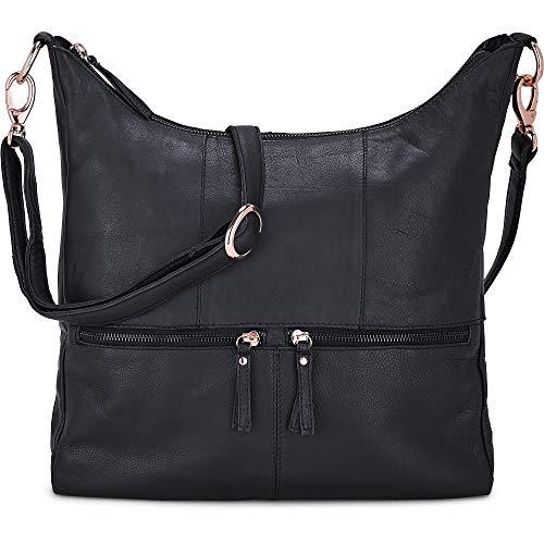 Cox Erwachsene (Unisex) Damen Umhängetasche aus Leder, Handtasche in Schwarz mit Details in Rose-Gold (36 x 31 x 8 cm) Schwarz 1
