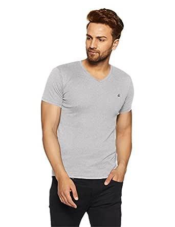 United Colors of Benetton Men's Solid T-Shirt (17A3C78J1204I_Grey Melange_EL)