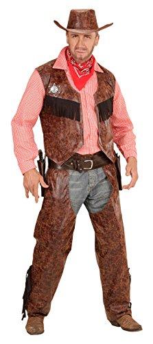 (Widmann 05924 Erwachsenenkostüm Cowboy, Shirt mit Weste, Chaps und Hut)