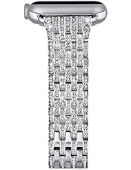 Apple Watch Armband, iBazal Apple Watch Uhrenarmband Premium iWatch Strap Uhr Band Rostfreier Stahl Band iWatch Band Luxus Uhr Armband Armbanduhr Band Uhr Band Ersatzteil Band Armband Band Austausch Band Handgelenk Austausch Band mit Kristallrhinestone-Diamant f¨¹r Apple Watch Serie 2 und Serie 1 Alle Modelle [Klassischer Style]
