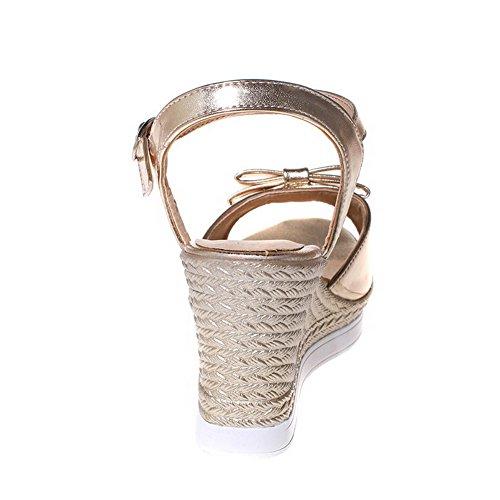 VogueZone009 Donna Pelle Di Maiale Punta Aperta Tacco Alto Luccichio Sandali Oro