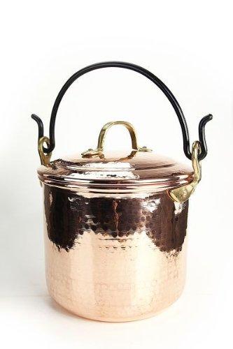 'CopperGarden®' Kupfertopf 5L mit Henkel und Deckel - handgeschmiedet und innen verzinnt