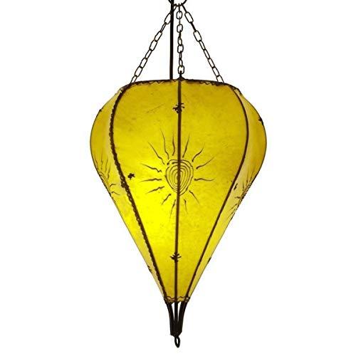 Orientalische Lampe Hängelampe marokkanische Deckenlampe Hänge Leuchte Hennalampe Lederlampe Orient Tropfen Sonne 40 cm Color Gelb