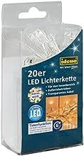 Idena 8582052 - Guirnalda de luces led (20 unidades, cable transparente, funciona con baterías, incluye temporizador de 6 horas, luz blanca cálida)