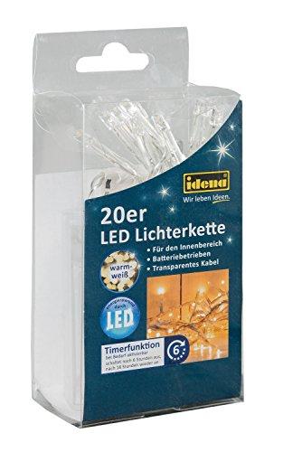 Idena LED Lichterkette, 20er warm weiß, für innen, batteriebetrieben, 8582052 (Weihnachtsbaum Zeitschaltuhr)