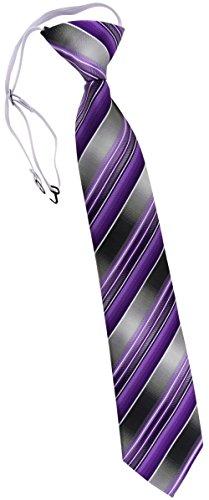TigerTie Kinderkrawatte in lila flieder anthrazit silber grau gestreift - Krawatte vorgebunden mit Gummizug (Krawatten Gestreift Lila)