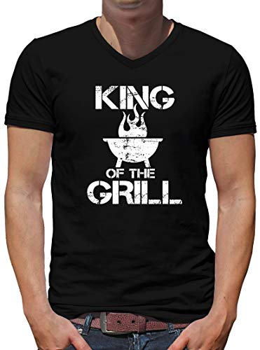 King of The Grill V-Neck T-Shirt Herren XL Schwarz