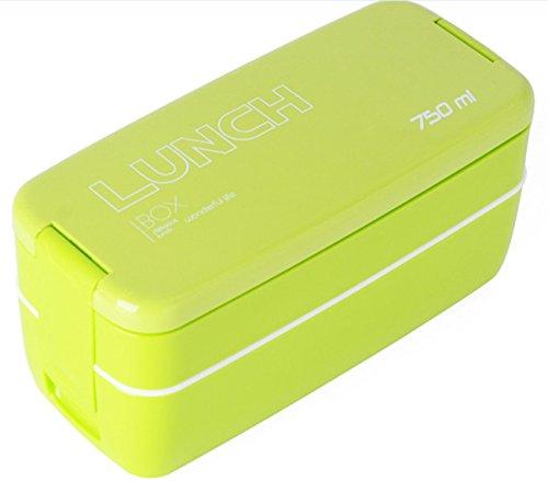 Lunchbox / Bento Box, Japanische Bento Box,MACDIAZ Microwavable Bento Lunchboxen 2 Tier Food Storage Container mit Besteck für Kinder, Lunch Container,Grün (Halten Sie Nahrung Heiß-container)