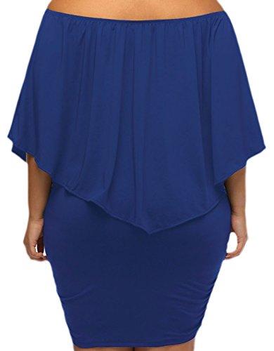 erdbeerloft - Damen Plus Size Schulterfreies Volant Midikleid, L-2XL, Viele Farben Blau