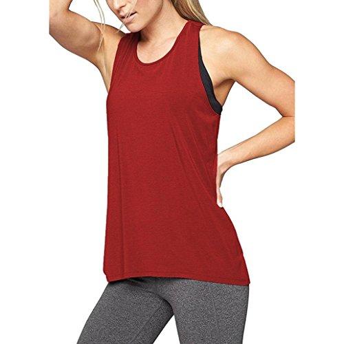 MCYs Damen Sommer Lose Cross Rücken Yoga Shirt ärmellos Workout Oberteile Top Fitness Sport Tank Weste T-Shirt Bluse Crop Top (M, Weinrot)