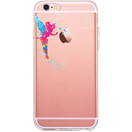 GIRLSCASES® | iPhone 6-6S Hülle | Im Fee Motiv Muster | in schwarz | Fashion Case transparente Schutzhülle aus Silikon Tinkerbell Fee 1