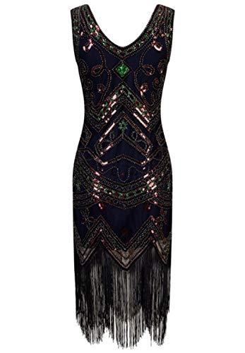 ZDSYYK 1920er Jahre Flapper Kleid Frauen Vintage Pailletten Fringe Perlen Art-Deco-Kostüm mit Ärmel für Party Prom (Style12,XL)