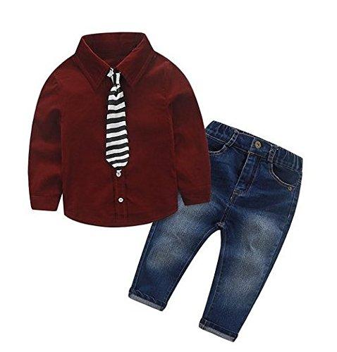 [Babyanzug für Jungen]Gentleman Bekleidungsset Baumwolle Langarm Hemd mit streifen Krawatte +Jeanshose Sommeranzug festlich Kleidung Jungen-Rot-130