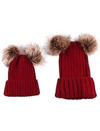 Tpulling Bonnet Bebe, 2pcs Maman bébé Tricot Pom Bobble Hat Chapeau Hiver  Chaud ... b7f90569ecd