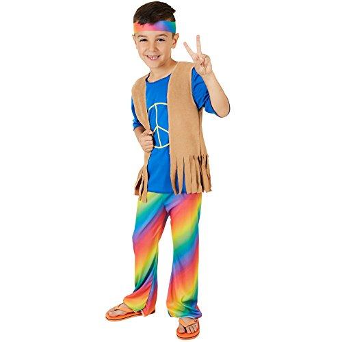 dressforfun Jungenkostüm Boy Peacemaker | Schönes, bequemes T-Shirt | Inkl. Weste in Veloursleder-Optik und Haarband (9-10 Jahre) (Kinder Kostüm Hippie)