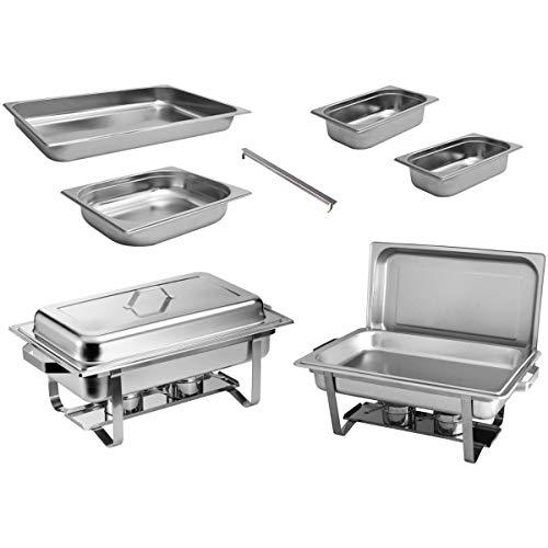 ZORRO - 2x Chafing Dish Speisewärmer Profi Set 15-Teilig in Gastro Qualität Warmhaltebehälter Edelstahl Buffet-Set Chafing Dish Set