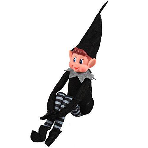 Asab Weihnachten Naughty Helper Elf Stil Neuheit Weihnachts Kid Plüsch bewegliche Puppe Junge Mädchen Blue Eye Figur schwarz grau Kostüm Outfit (Kostüme Elf Einem Regal Auf)