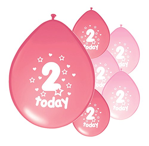10 x 2ND BIRTHDAY GIRL/ AGE 2 GIRL LIGHT PINK AND PINK MIX PACK BIRTHDAY BALLOONS (PA)