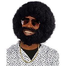 Black Afro Wig and Beard Set (peluca)