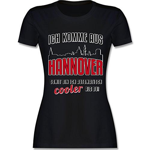 Städte - Ich komme aus Hannover - tailliertes Premium T-Shirt mit Rundhalsausschnitt für Damen Schwarz