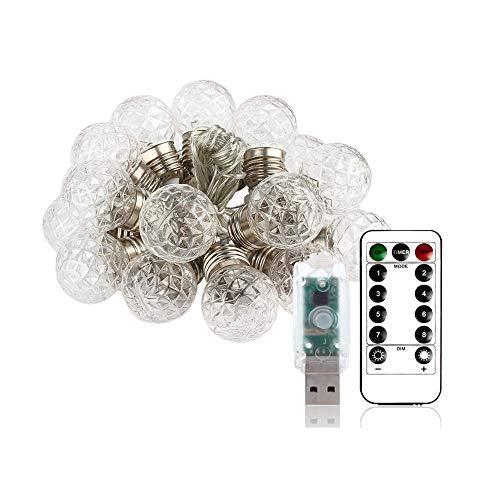 Xiao Yun ☞ Kugel-Solarlichter weiß/Kristallkugel-Schnur-Licht, Wasserdichte im Freien hängende Beleuchtung-Dekoration für Patio-Garten-Veranda-Zaun-Weihnachtsbaum-Yard-Partei ☜