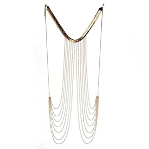 gold pin tassel chain fashion harness metal jewelry necklace body europe women