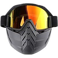 CLISPEED Gafas de Equitación para Casco de Motocicleta Gafas con Protector Facial a Prueba de Polvo a Prueba de Viento Gafas de Seguridad Gafas de Protección UV para Mujeres Hombres (Rojo Y Negro)