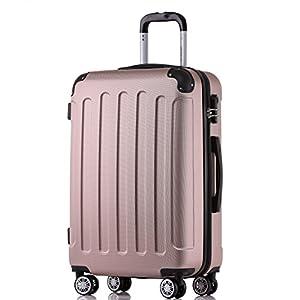 BEIBYE 2045 Hartschale Koffer Kofferset Trolley Reisekoffer Größe XL-L-M in 12 Farben (Rosa Gold, M)