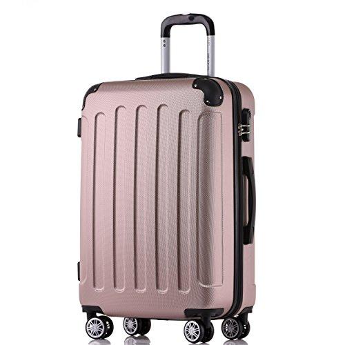 BEIBYE 2045 Hartschale Koffer Kofferset Trolley Reisekoffer Größe XL-L-M in 12 Farben (Rosa Gold, XL)