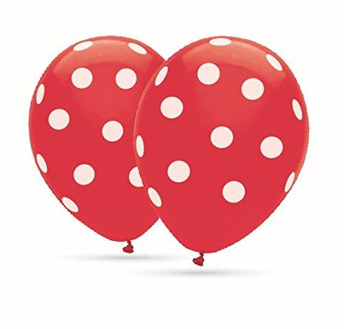 8 Ballons Polka Dots Rote Ballons mit weißen Punkten 30cm Durchmesser, 12