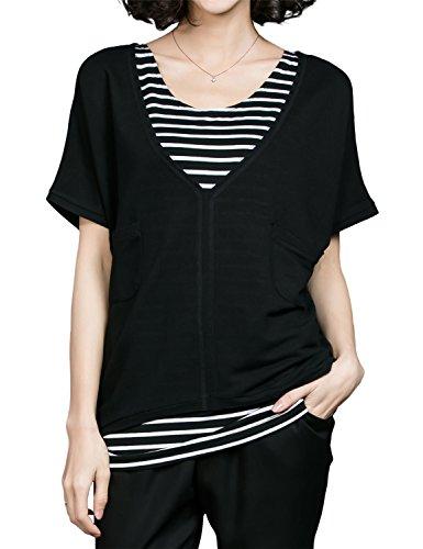 Luna et Margarita 2 Pieces Schwarz Bluse mit Fledermausarm, Schwarz-Weiß Streifen Top und Taschen Größe 42 Frau Erbse Mantel