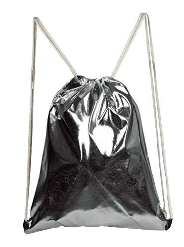 Cashmere-leder-rucksack (Zwillingsherz Turnbeutel in Metallic Optik, Sportbeutel, Gym Bag, Kordeln, Rucksack, Beutel, Unisex (anthrazit))