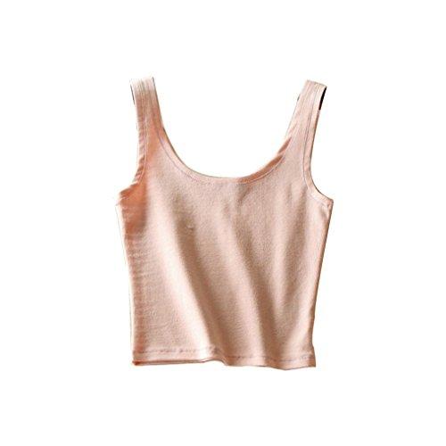 Bluestercool Gilet pour femmes Mélange de coton sans couture à l'été Rose