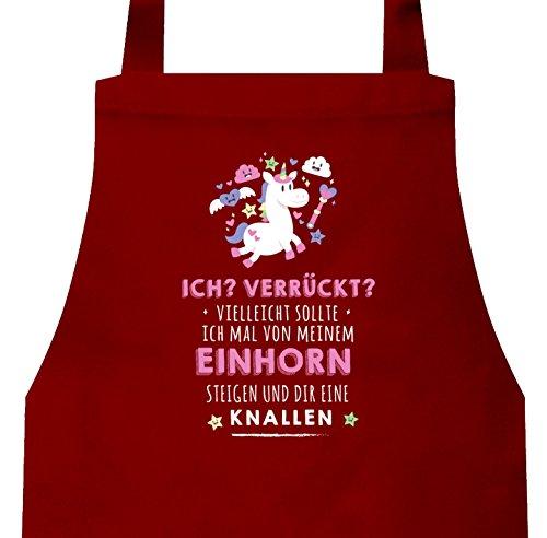 Unicorn Grillen Barbecue Grill Baumwoll Schürze Kochschürze Latzschürze Vom Einhorn steigen, Größe: onesize,Rot (Bbq-geek-schürze)