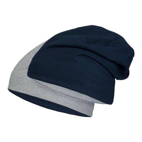 Jersey Mütze aus hautfreundlicher Baumwolle für Jungen Mädchen | Kopfumfang 53-57cm | dünner Beanie mit 5% Elasthan für perfekten Sitz Navy/Hellgrau