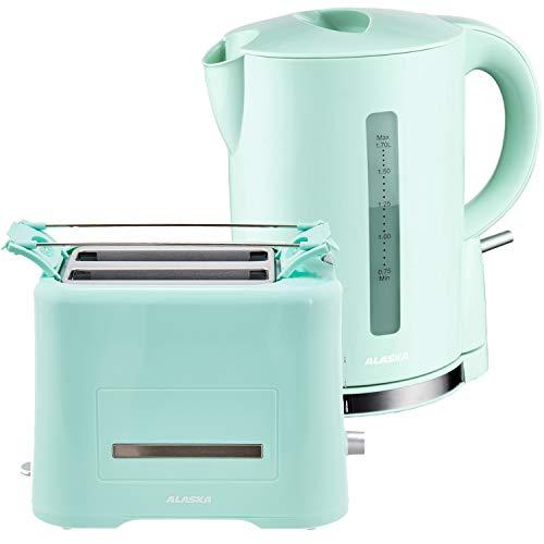 Alaska Frühstücksset 2209 | Grün | 2 in 1 | Wasserkocher + Toaster | 1,7 L | 2 Scheiben | Brötchen-Röstaufsatz | Auftau-, Aufback- und Unterbrechungsfunktion | Abschaltautomatik | Kabellose Benutzung