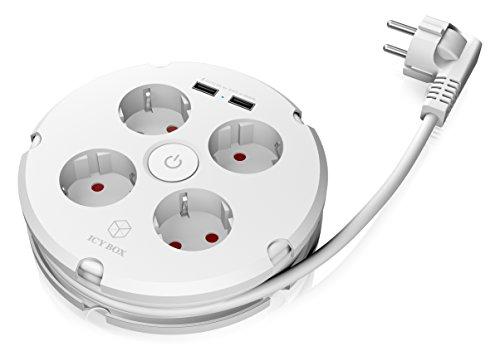 ICY BOX IB-CB012 Mehrfachsteckdose (4-fach) mit 2x USB-Ladeports, Kabel 1,5 m aufrollbar, Ein-/Ausschalter, Kurzschluss-/Überspannungsschutz, weiß