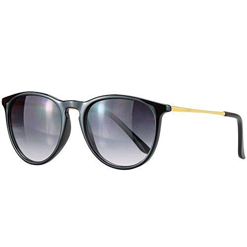 caripe Retro Sonnenbrille Damen Herren Hornbrille Vintage Brille verspiegelt + getönt - 139 (big - schwarz - smoke)