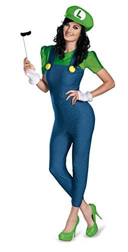 Generique Deluxe Luigi Kostüm für Damen, Deluxe M (Berühmte Schnurrbärte Kostüme)
