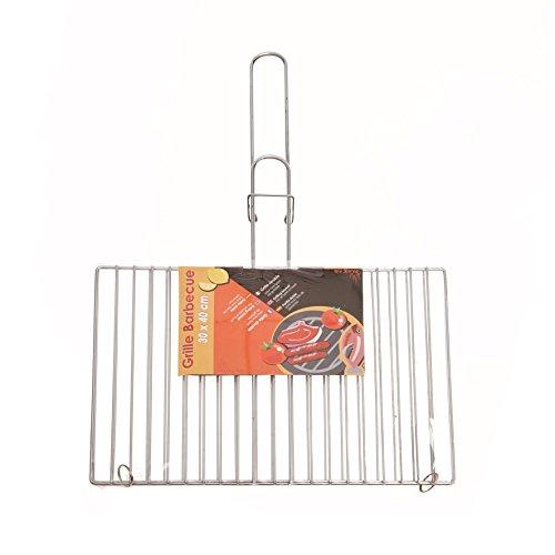 Ruecab 1077,Rejilla de barbacoa doble mango, acero inoxidable plata 1.5 x 40 x 30 cm